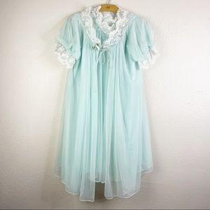 2 Piece Vintage CHEVETTE Nightgown Robe Blue Lace